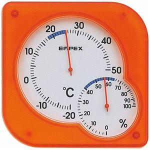 EMPEX温度・湿度計シュクレmidi置き掛け兼用TM-5604クリアオレンジ