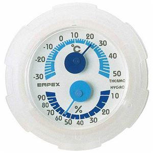 (まとめ)EMPEX温・湿度計シュクレミニ温度・湿度計TM-2381クリアホワイト【×5セット】