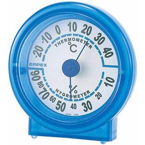 (まとめ)EMPEX温度・湿度計シュクレ温度・湿度計TM-5526クリアブルー【×5セット】