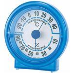 (まとめ)EMPEX 温度・湿度計 シュクレ温度・湿度計 TM-5526 クリアブルー【×5セット】