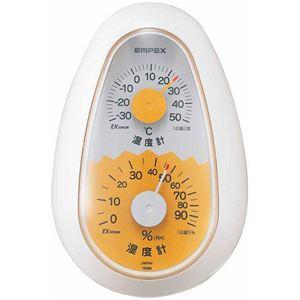 (まとめ)EMPEX温度・湿度計起き上がりこぼし温度・湿度計TM-2321ホワイト【×5セット】