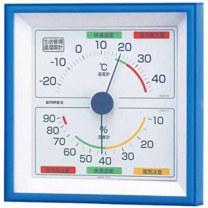 (まとめ)EMPEX生活管理温度・湿度計壁掛用TM-2476クリアブルー【×3セット】
