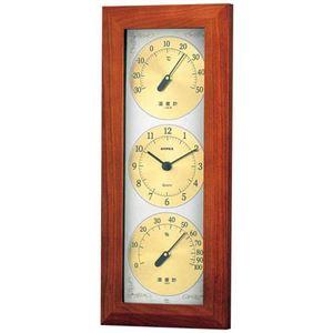(まとめ)EMPEX掛け時計ウェザータイム温度・時計・湿度計TM-726【×2セット】