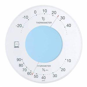 (まとめ)EMPEX温度・湿度計セレナ温度・湿度計壁掛用LV-4306ライトブルー【×5セット】