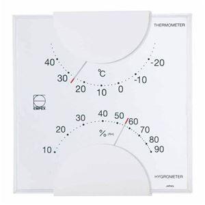 (まとめ)EMPEX温度・湿度計エルム温度・湿度計壁掛用LV-4901ホワイト【×5セット】