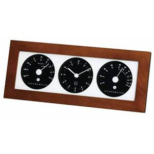 (まとめ)EMPEX 置き掛け兼用 時計 リビウッディ温・湿クロック LV-4302 ダークブラウン【×2セット】 - 拡大画像