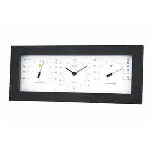 (まとめ)EMPEX置き掛け兼用MONO温度計・時計・湿度計MN-4841ホワイト【×2セット】