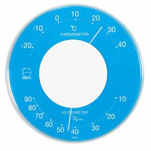 EMPEX温度・湿度計セレナカラー丸型置き掛け兼用LV-4356ブルー