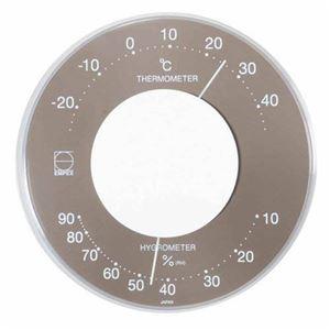 EMPEX温度・湿度計セレナカラー丸型置き掛け兼用LV-4357グレー