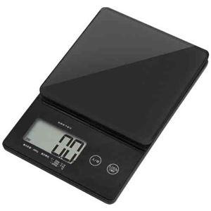 (まとめ)DRETECキッチンスケールデジタルスケールストリーム2kgはかり0.1g単位ではかれるシンプルな高精度スケールKS-245BK【×2セット】