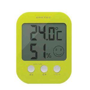 (まとめ)DRETECデジタル温湿度計オプシス5段階の表情で室内の快適度を表示O-230GN【×3セット】