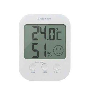 (まとめ)DRETECデジタル温湿度計オプシス5段階の表情で室内の快適度を表示O-230WT【×3セット】