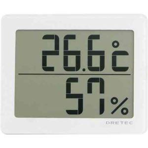 (まとめ)DRETECデジタル温湿度計アクリアコンパクトボディに大画面O-226WT【×3セット】