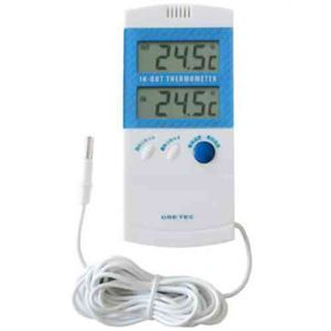 (まとめ)DRETEC 室内室外温度計 室内と室外の温度を同時に表示 O-209BL【×5セット】