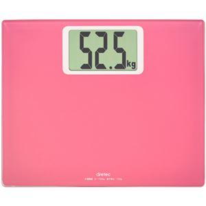 (まとめ)DRETEC 大きな数字で表示する大画面体重計 ボディ スケール グランデ ピンク BS-163PK BS-163PK【×2セット】 - 拡大画像