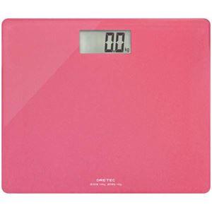 (まとめ)DRETECボディスケールグラッセピンクのるだけで簡単に体重がはかれるデジタル体重計BS-159PK【×3セット】