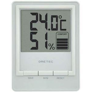 (まとめ)DRETEC快適度を5段階で表示見やすい大画面表示の温湿度計デジタル温湿度計スタシスホワイトO-233WT【×3セット】