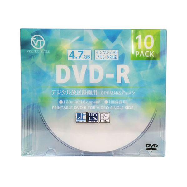 (まとめ)VERTEX DVD-R(Video with CPRM) 1回録画用 120分 1-16倍速 10P インクジェットプリンタ対応(ホワイト) DR-120DVX.10CA【×10セット】f00