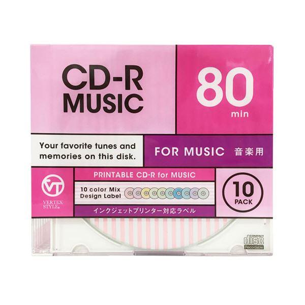 (まとめ)VERTEX CD-R(Audio) 80分 10P カラーミックス・ストライプデザイン10色 インクジェットプリンタ対応 10CDRA.DESMIX.80VXCA【×5セット】f00