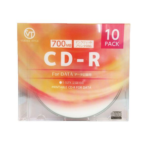 (まとめ)VERTEX CD-R(Data) 1回記録用 700MB 1-52倍速 10P インクジェットプリンタ対応(ホワイト) 10CDRD.700MBCA【×10セット】f00