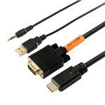 (まとめ)HORIC VGA→HDMI 変換ケーブル 2m ブラック VGHD20-030BK【×2セット】