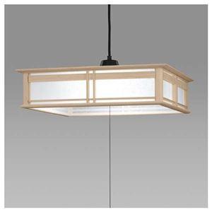 日立LED和風木枠ペンダントライト〜12畳LEP-CA1201EJ