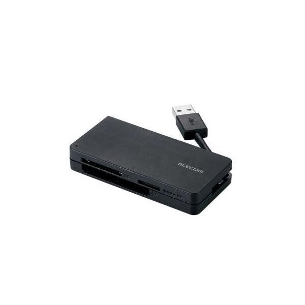 (まとめ)エレコム USB3.0対応メモリカードリーダ(ケーブル収納タイプ) MR3-K012BK【×3セット】f00