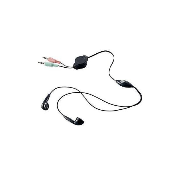 (まとめ)エレコム ヘッドセット(両耳インナーイヤータイプ) HS-EP14BK【×5セット】f00