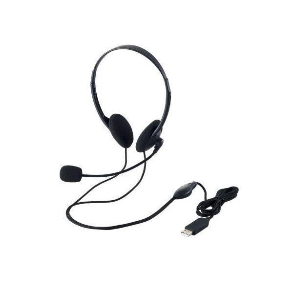 (まとめ)エレコム USBヘッドセット(両耳小型オーバーヘッドタイプ) HS-HP27UBK【×3セット】f00