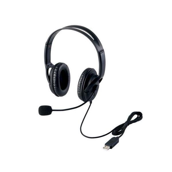 (まとめ)エレコム USBヘッドセット(両耳大型オーバーヘッドタイプ) HS-HP28UBK【×2セット】f00