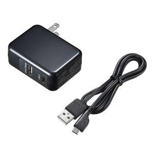 (まとめ)サンワサプライ USBTypeCポート搭載QuickCharge3.0対応AC充電器(ブラック) ACA-QC43CUBK【×2セット】 h01
