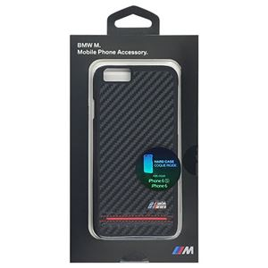 BMW 公式ライセンス品 Hard Case - PU Carbon Print - Stripe Pipping - Red iPhone 6/6S BMHCP6HSCR h01
