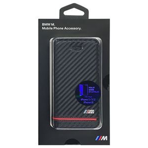 BMW 公式ライセンス品 Booktype Case - PU Carbon Print - Stripe Pipping - Red iPhone SE BMFLBKPSEHSCR