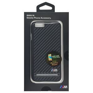 BMW 公式ライセンス品 Hard Case - PU Carbon Print - Stripe Pipping - Silver iPhone 6/6S BMHCP6HSCS h01
