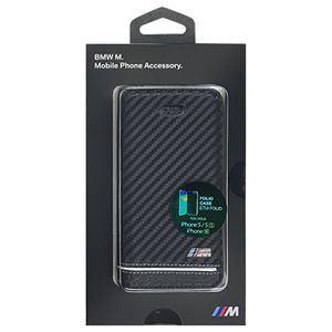 BMW公式ライセンス品BooktypeCase-PUCarbonPrint-StripePipping-SilveriPhoneSEBMFLBKPSEHSCS