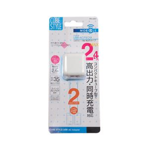 (まとめ)ミヨシ USB-ACアダプタ 2.4A 2ポート ホワイト IPA-US01/WH【×3セット】 f04