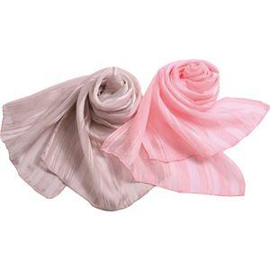 YUMEZAIKU 桜染シルクストライプスカーフ 桜ピンク C7010515 B3006040