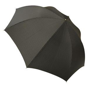 大判紳士綾織ワンタッチ傘(ブラック)