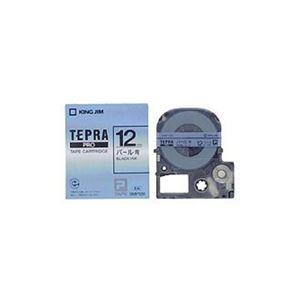 (まとめ) キングジム テプラ カラーラベルテープ(パール青テープ/黒文字/12mm幅) SMP12B 【×5セット】