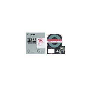 (まとめ) キングジム テプラ 白ラベルテープ (白テープ/赤文字/18mm幅) SS18R 【×5セット】