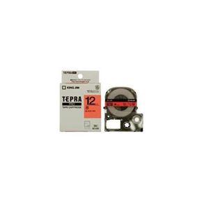 (まとめ) キングジム テプラ カラーラベルテープ(赤テープ/黒文字/12mm幅) SC12R 【×5セット】