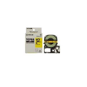 (まとめ) キングジム テプラ カラーラベルテープ(黄テープ/黒文字/12mm幅) SC12Y 【×5セット】