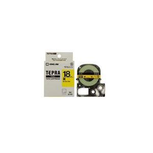 (まとめ) キングジム テプラ カラーラベルテープ(黄テープ/黒文字/18mm幅) SC18Y 【×5セット】