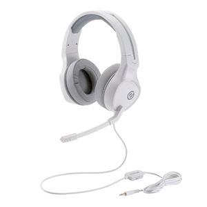 エレコム ゲーミングヘッドセット/両耳オーバーヘッド/4極ミニプラグ/50mmドライバ/極厚イヤーパッド/コントローラ付属/ホワイト HS-G01WH