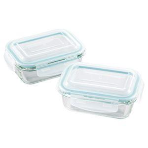 (まとめ)オーブンレンジ対応耐熱ガラス保存容器2pcs M80107139【×2セット】