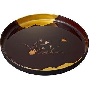 (まとめ)金箔 盛絵うさぎ 溜塗 10.0丸盆 L2172069【×2セット】