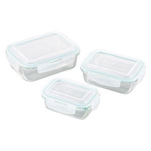 (まとめ)オーブンレンジ対応耐熱ガラス保存容器3pcs M80310335【×2セット】