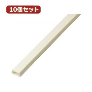 (まとめ)YAZAWA 10個セット固定テープ付ミニモール 1m オフホワイト FMWSX10【×3セット】