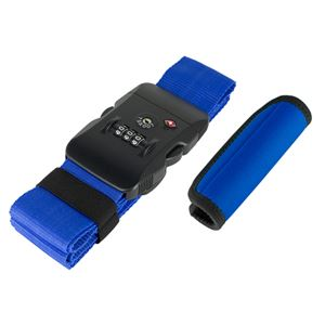 (まとめ)ミヨシ TSA対応スーツケースベルトグリップセット ブルー MBZ-MZ03/BL【×2セット】