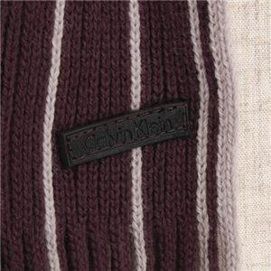 Calvin Klein ストライプマフラー  76516 BROWN/Oatmial